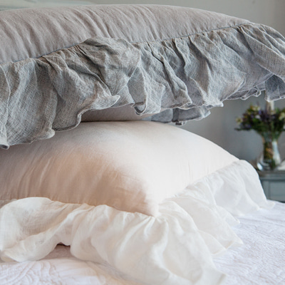Grey frill quilted duvet cover